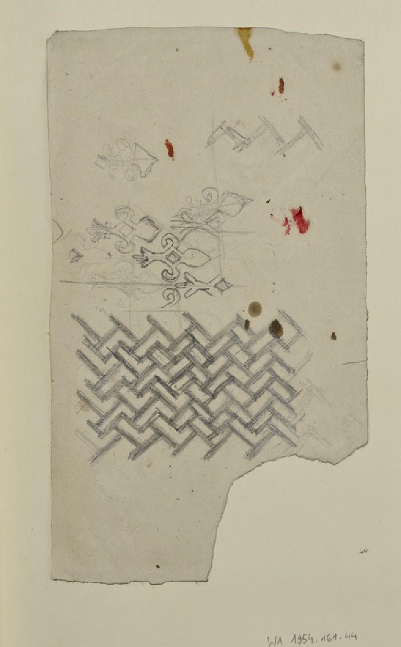 Recto: Decorative Motifs<br />Verso: Designs incorporating a Dolphin