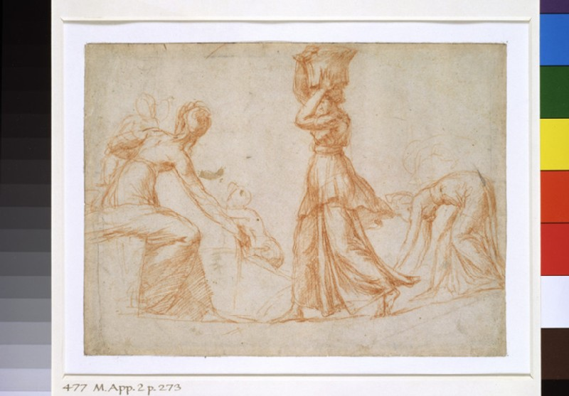 Recto: Composition with three female Figures