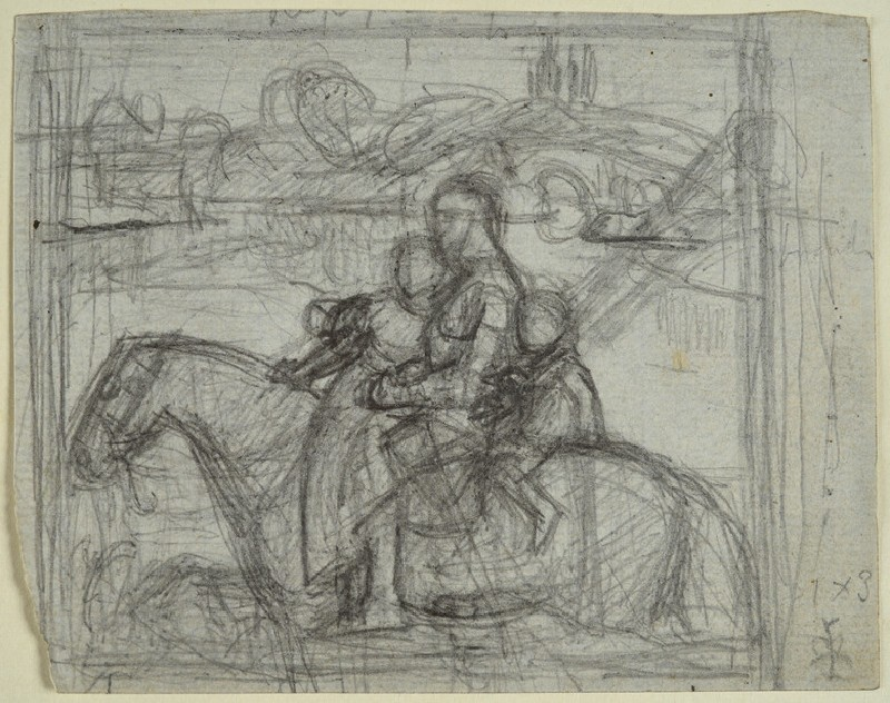 Recto: Preparatory study for 'Sir Isumbras at the Ford'