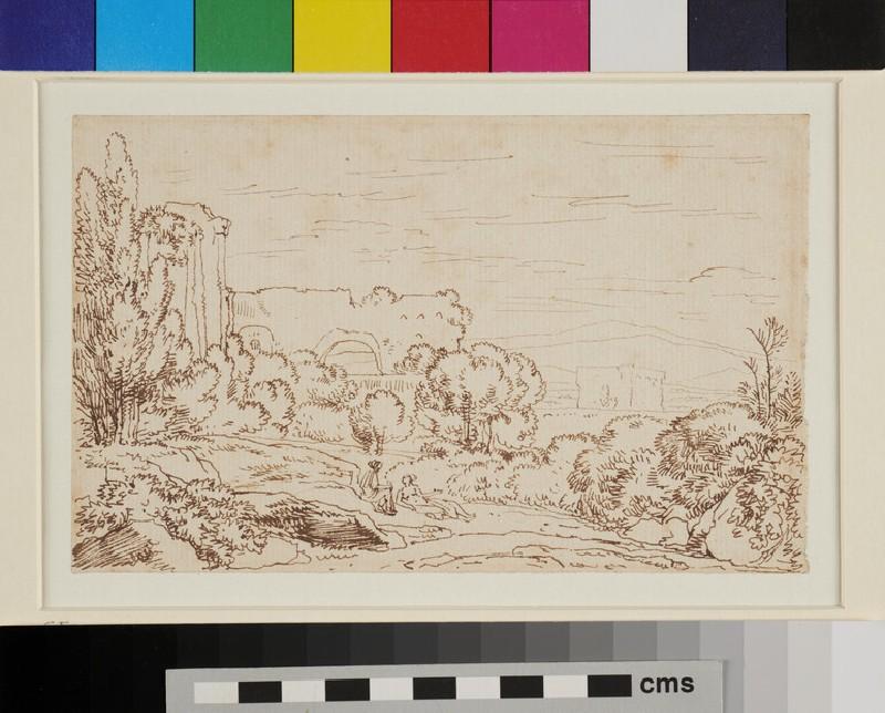 Italianate Landscape with Figures (WA1954.70.112, recto)