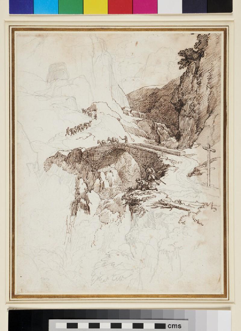 Recto: The Via Mala, with the Devil's Bridge<br />Verso: Slight Sketch of Rocks and Bushes (WA1954.70.113, recto)
