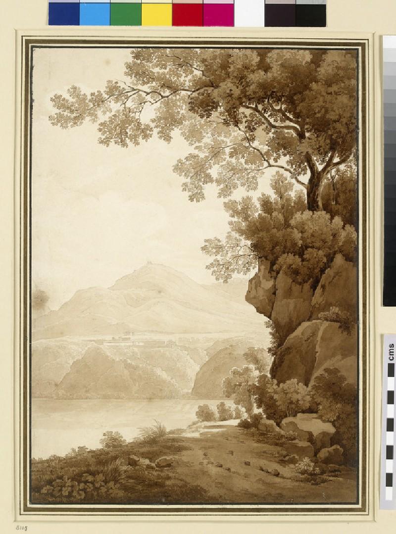 Mountainous Landscape beside a Lake (WA1954.70.136)