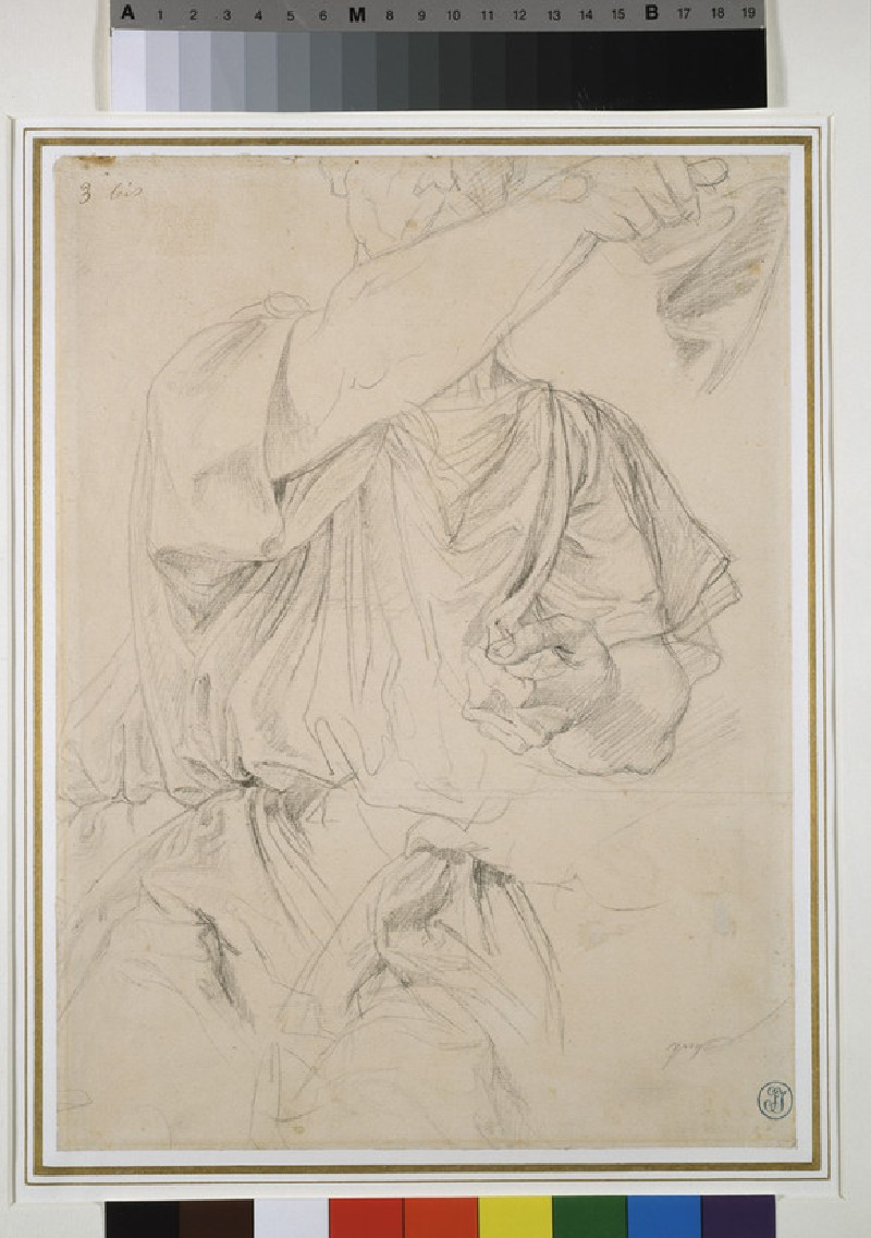 Three drapery studies for a man pointing forward