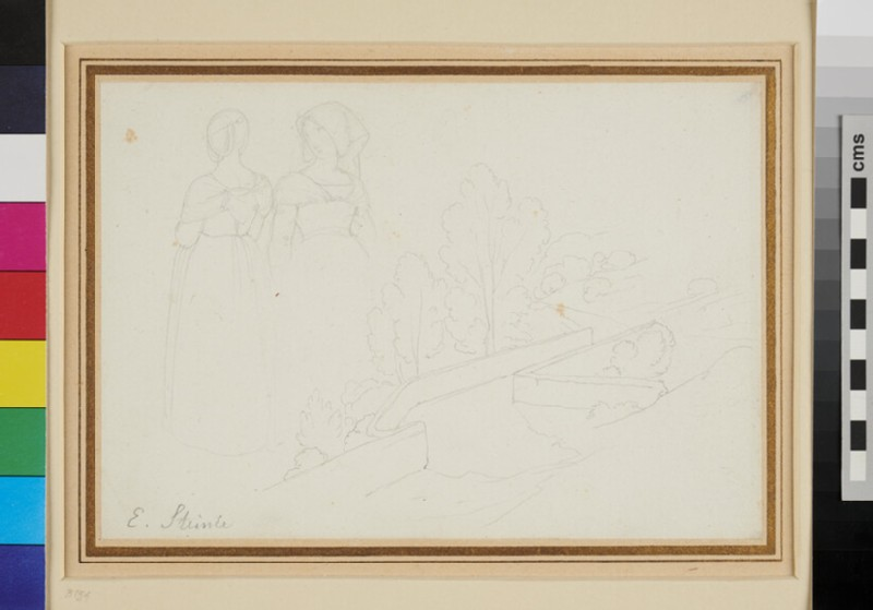 Recto: Sketches of two Women in Italian Dress and a walled Country Road <br />Verso: A Woman sleeping