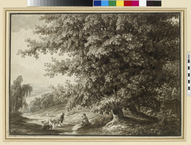 Landscape with two large Oak Trees and a piping Goatherd (WA1954.70.180)