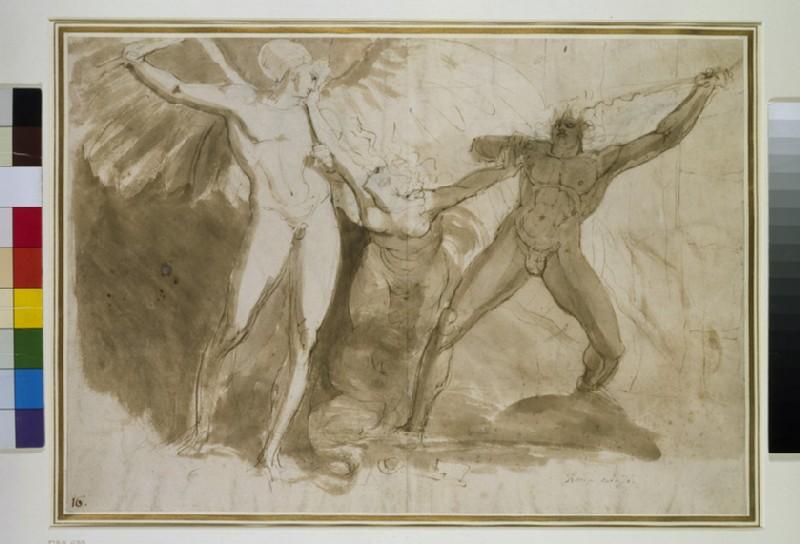 Recto: Satan, Sin and Death Verso: similar study
