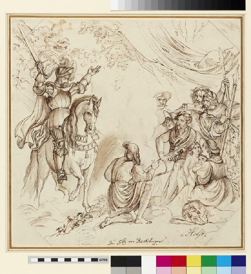 Recto: Scene from Goethe's 'Götz von Berlichingen'<br />Verso: Three Studies of von Holst by his sister Constantia von Holst (b. 1804)