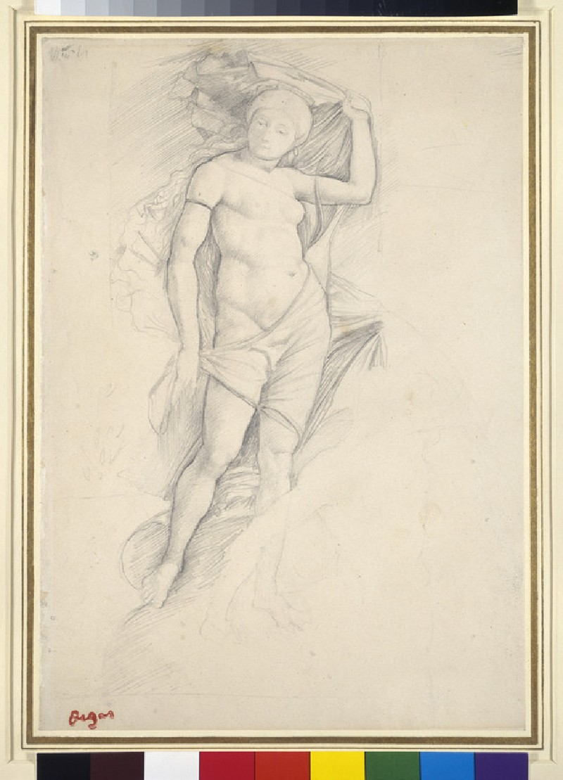 Woman, partly draped, with a slight Study of a Centaur, lower right, after Mantegna