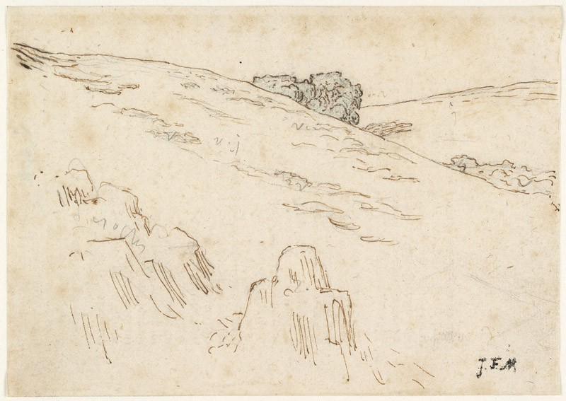 A hillside with foreground rocks and a clump of trees, upper centre (WA1954.70.33, front              )