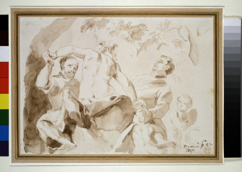 A female nude seated between two men with two putti, after Veronese (WA1954.70.46)