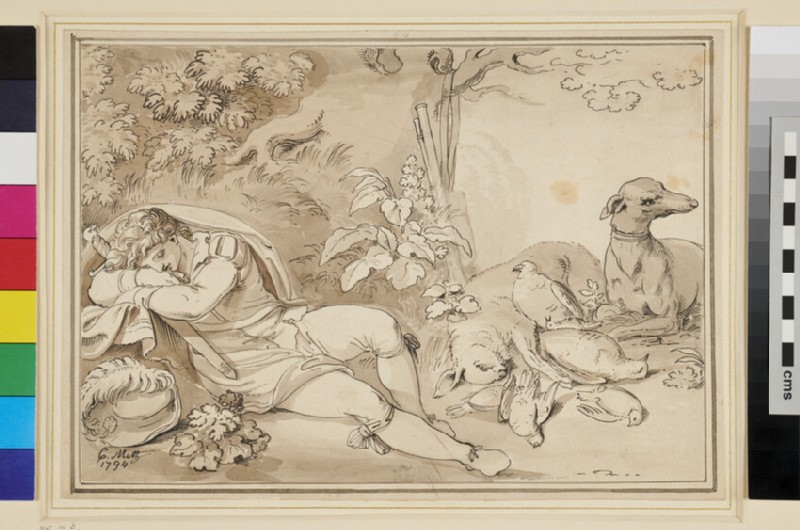 A sleeping Huntsman (WA1954.70.70, recto)