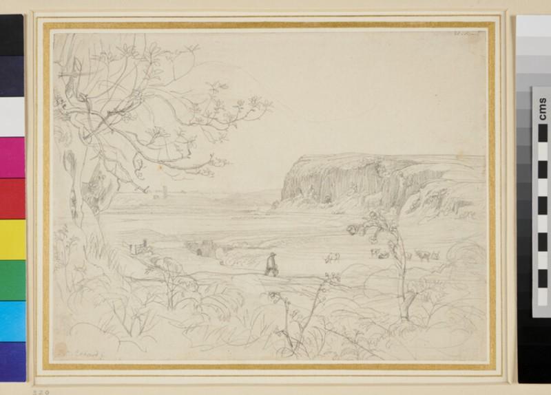 Recto: An Italian Landscape with an Escarpment <br />Verso: Slight Landscape Sketch
