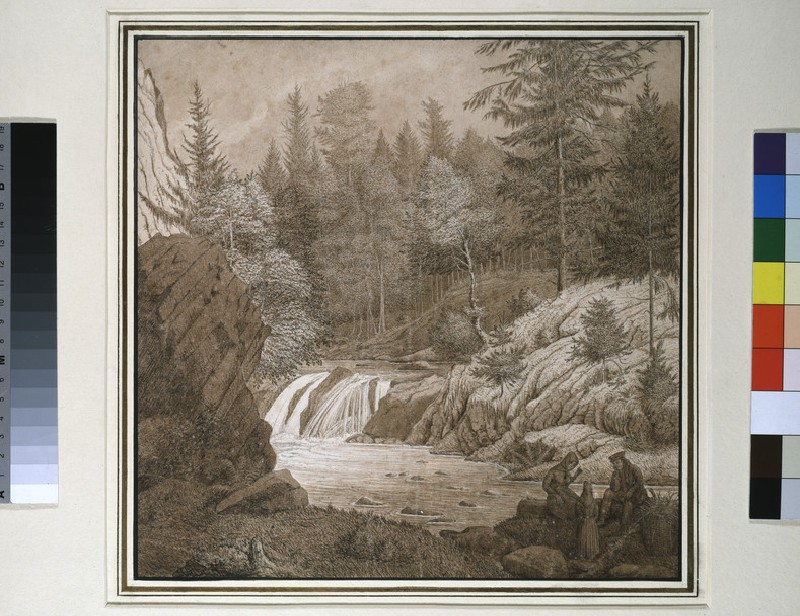 Wooded Landscape with Figures by a Waterfall
