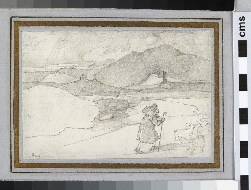 Recto: A Goatherd in the Campagna, with a Rainbow in the Distance <br />Verso: Study of a Plant