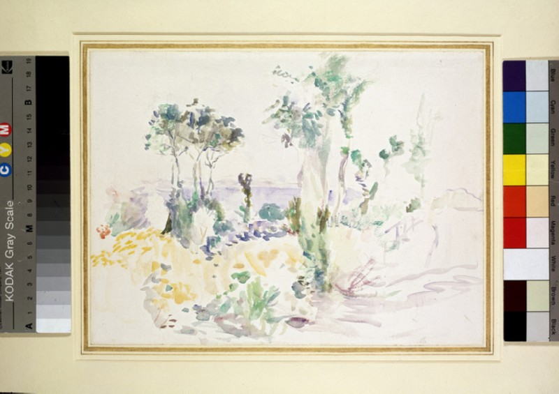 Landscape with tall trees and a view of the sea (WA1955.23)