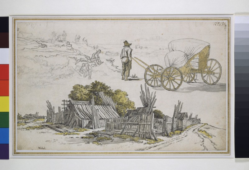 Recto: Studies of a timber yard, a hay wagon, and figures on a road<br />Verso: View of a parade ground