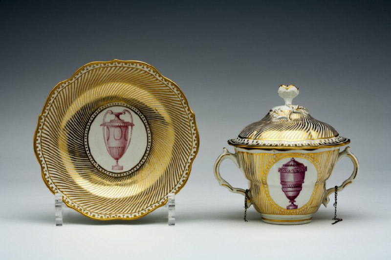 Caudle cup with cover and saucer