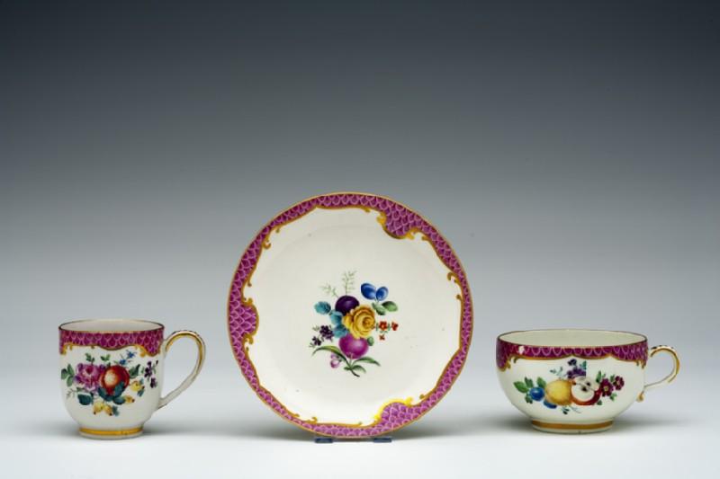 Teacup, coffee cup and saucer (WA1957.24.1.193)