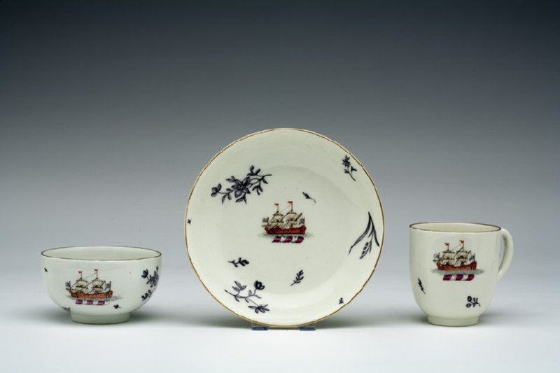 Teacup, coffee cup and saucer (WA1957.24.1.641)