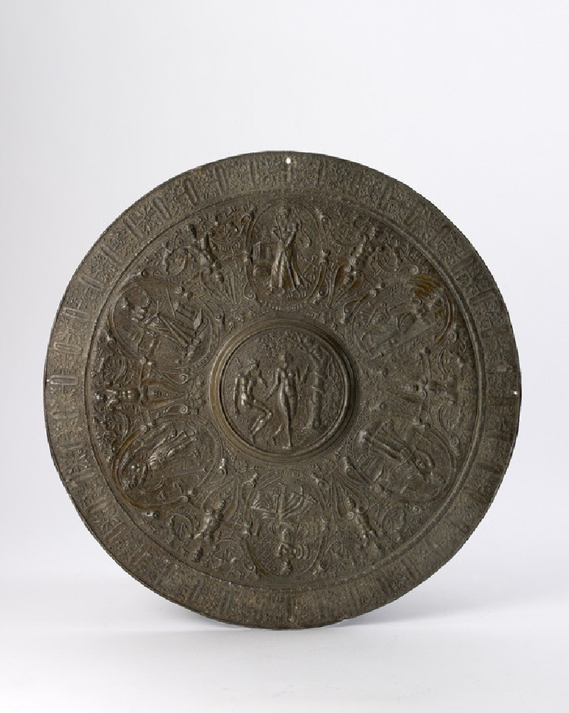 Relief dish with Adam and Eve, seven liberal arts and French inscription (WA1957.80.16)