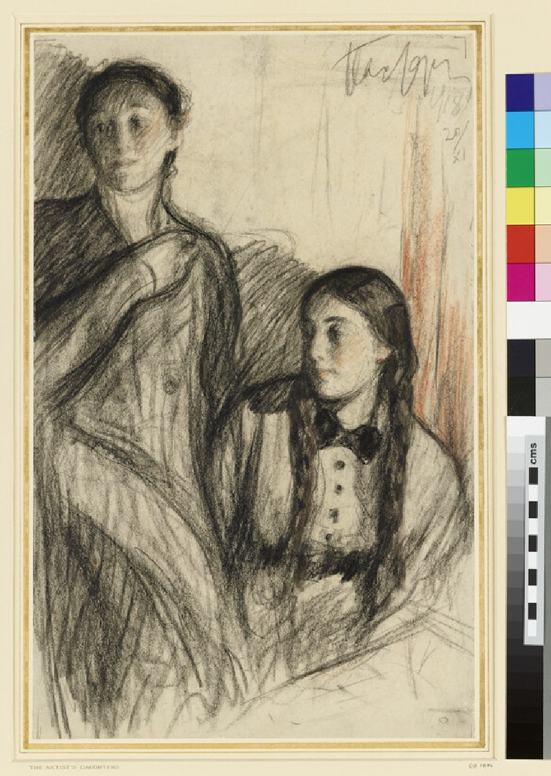 The Artist's Daughters Josephine and Lydia beside a Stove