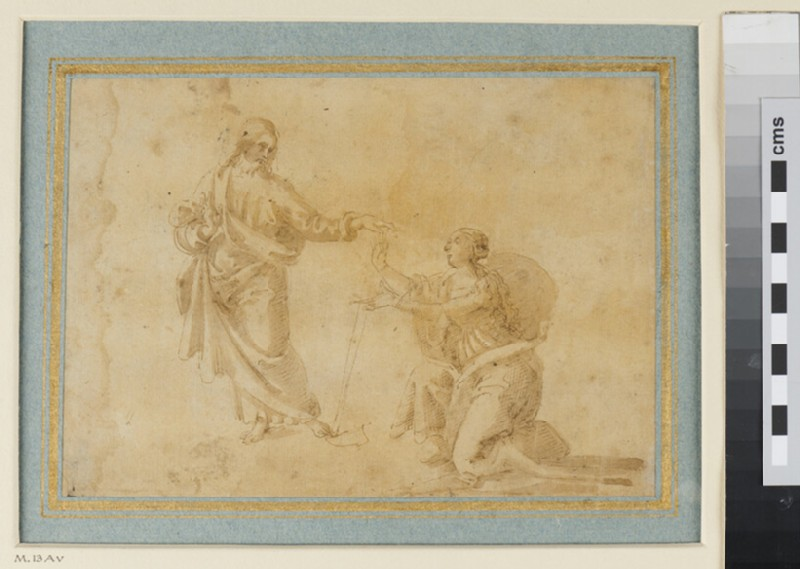 Recto: Sheet of Studies for the Baptism of Christ<br />Verso: Christ appearing to the Magdalen (WA1959.37, verso)
