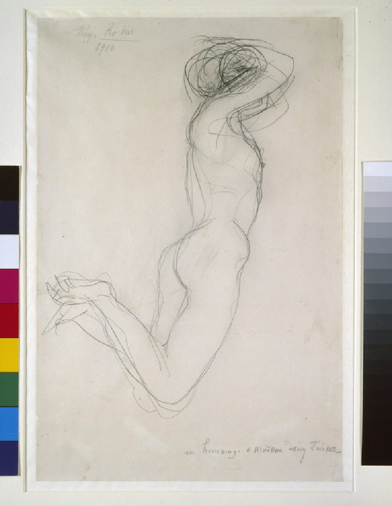 A reclining female nude, arms folded over her head