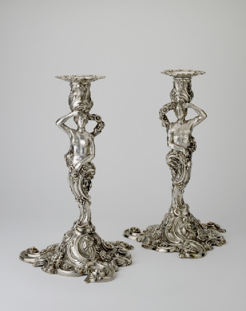 Candlestick, with nozzle, one of a pair