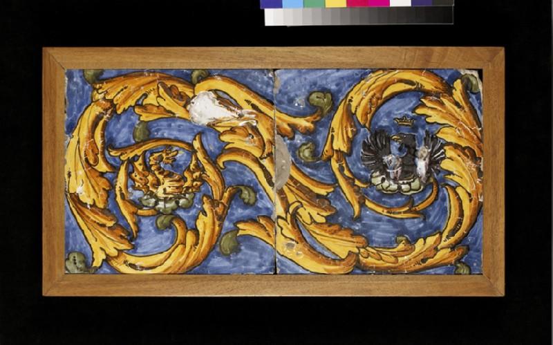 Two tiles with heraldic beasts