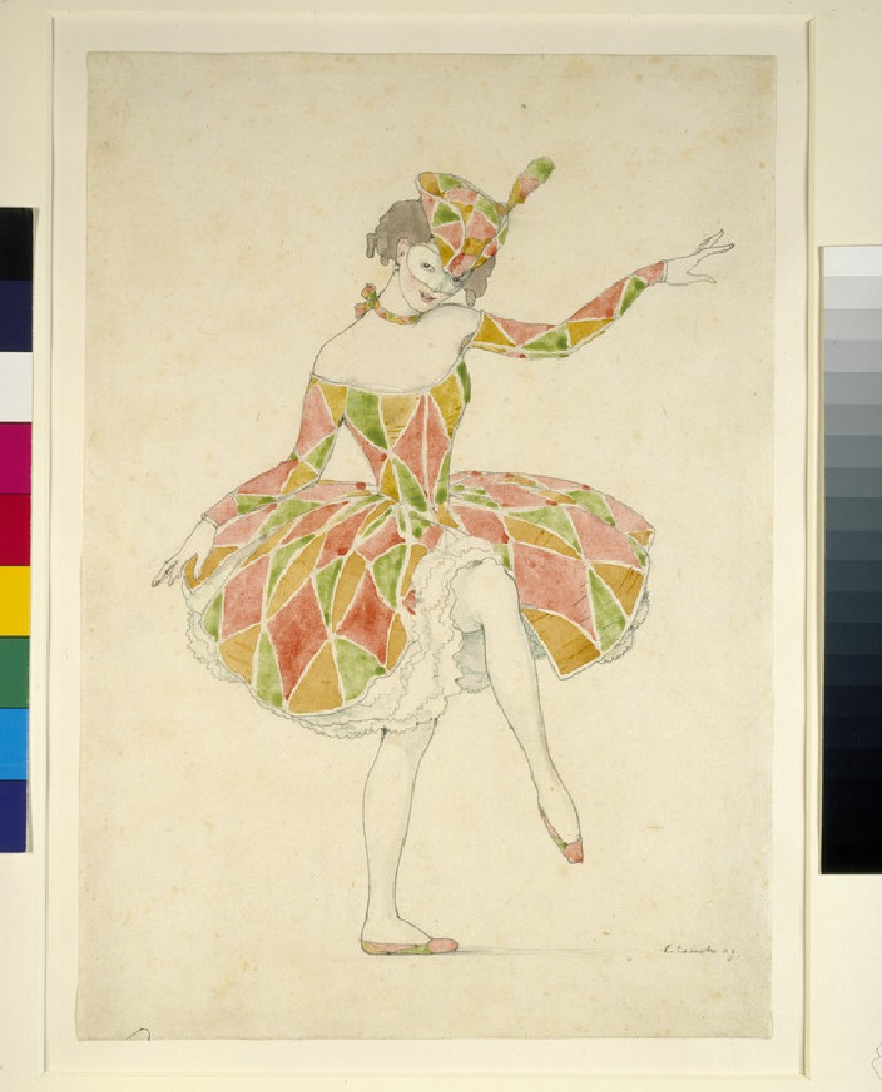 Design for Anna Pavlova's Costume of Columbine in 'Arlequinade'