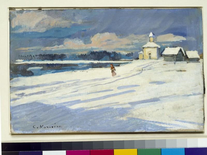Winter landscape with a small church (WA1960.36.3)