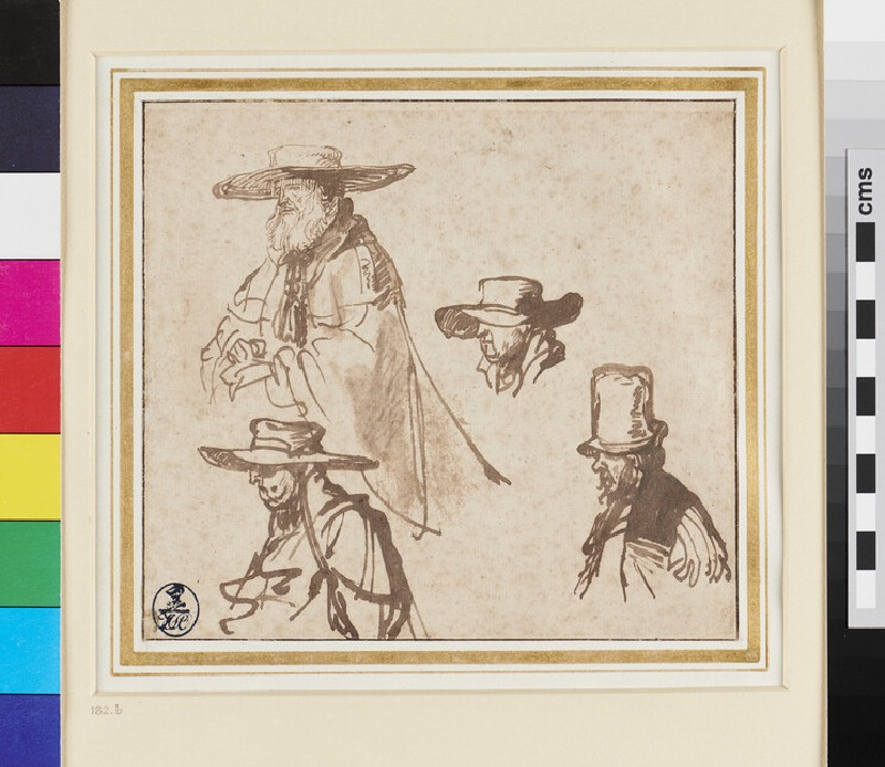 Recto: Studies of Heads of old Men <br />Verso: Study of a Hat