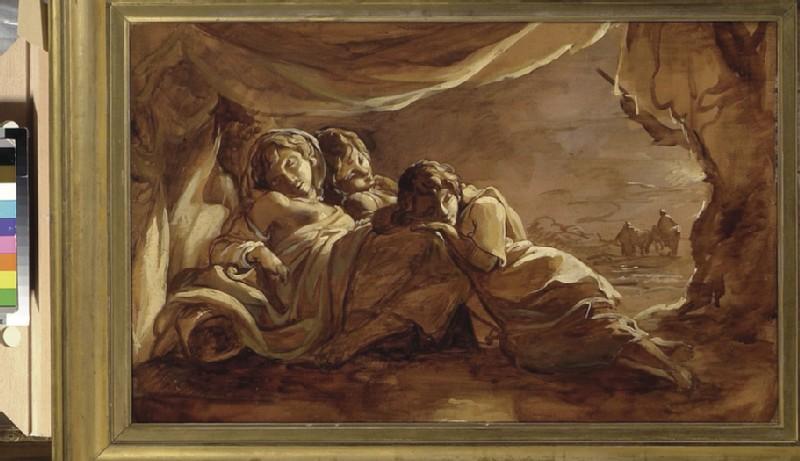Three Girls asleep under a Tent, Morning