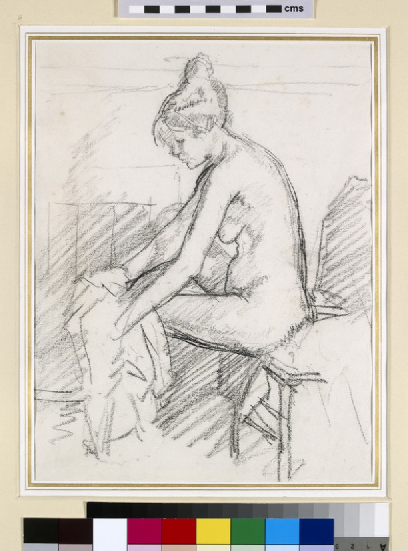 Study of a Nude Female, seated, drying her right Foot (WA1961.48.2)