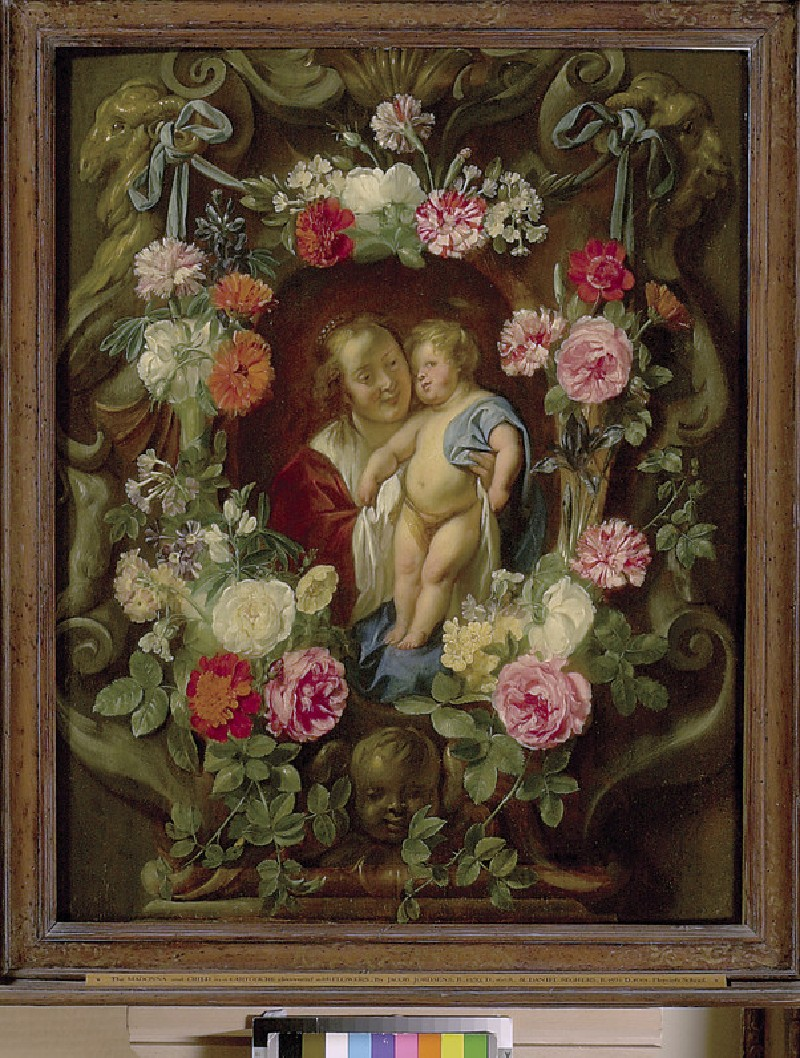 The Virgin and Child in a Cartouche decorated with a Flower Garland (WA1962.17.18)
