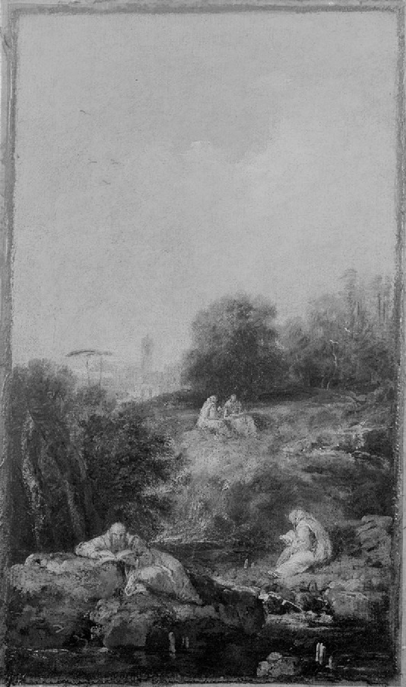 Landscape with Monks reading
