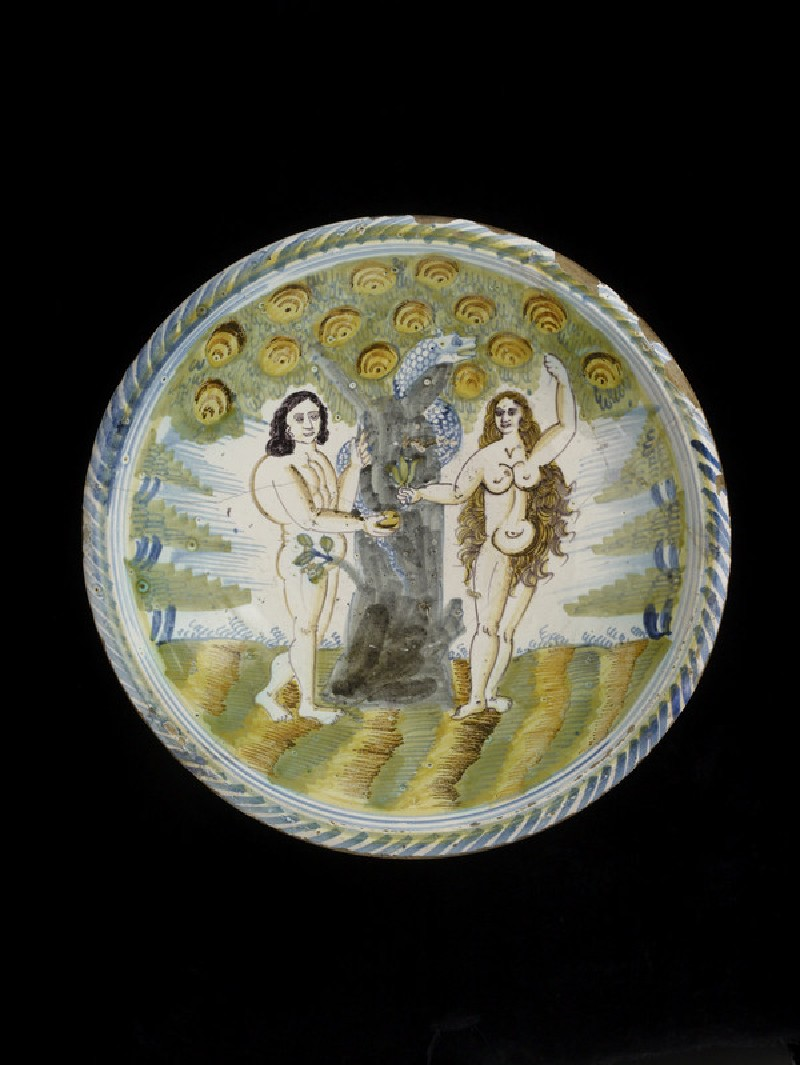 Dish with Adam and Eve (WA1963.136.8)