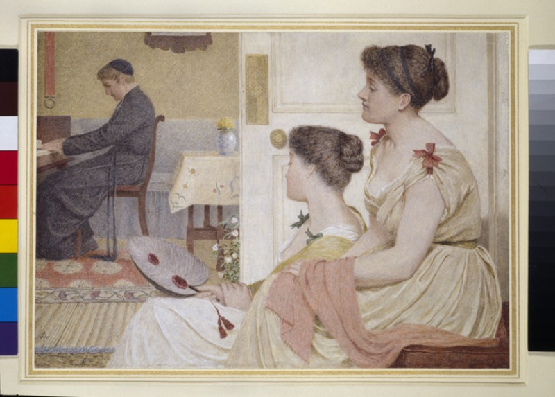 Drawing Room Scene with a young Priest at the Piano (WA1963.89.5)
