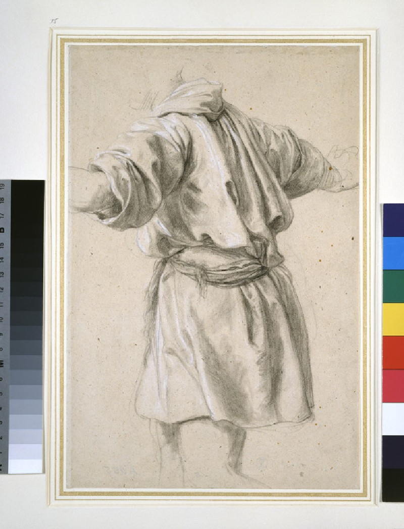 Study of a standing Figure wearing a short Tunic, seen from the back (WA1963.89.53)