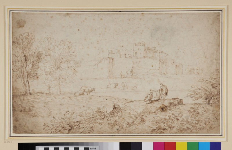 Landscape with a View of the Town Wall of Terni (recto)