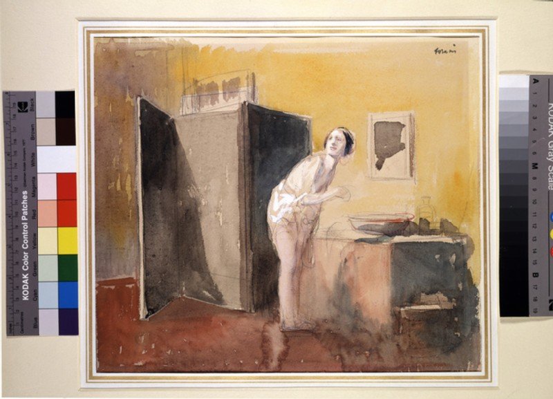 A woman washing in an interior