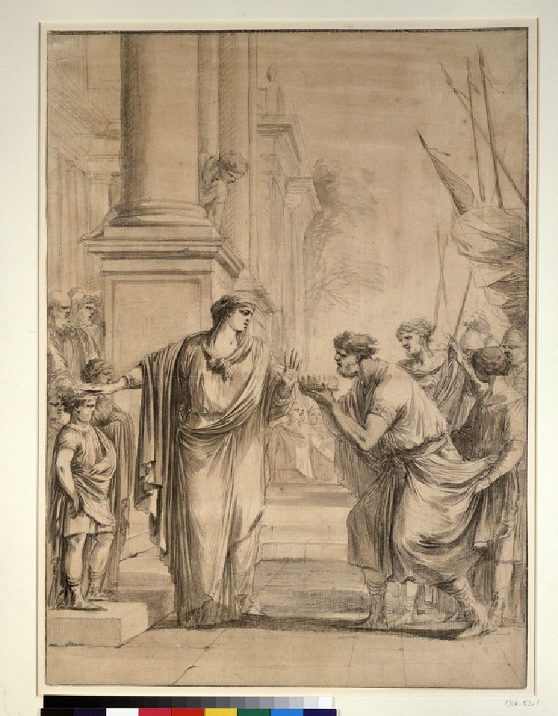 Cornelia, mother of the Gracchi, refusing an offer of marriage from Ptolemy VII of Egypt (WA1964.52.1)