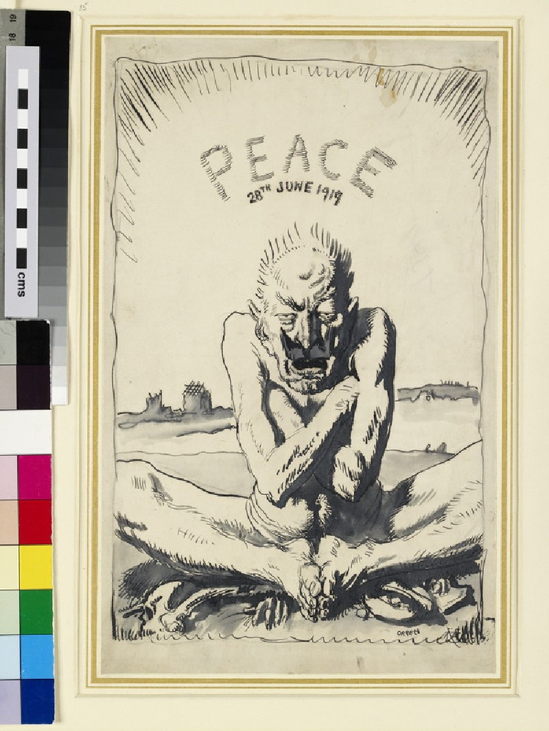 Peace, 28th June 1919: caricature Study of Kaiser Wilhelm II (1859-1941) (WA1964.54.1)