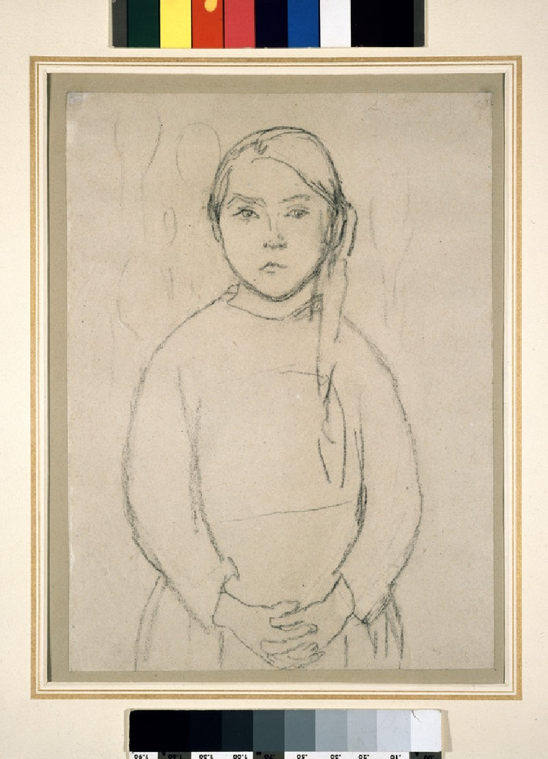 Girl with a Pigtail and clasped Hands