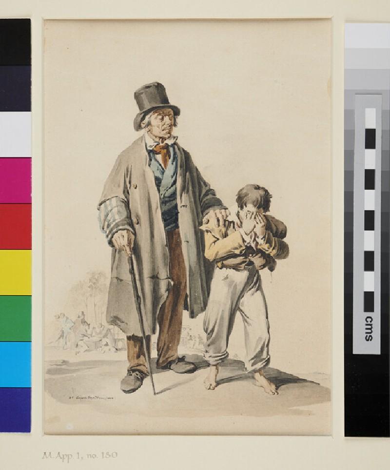 Boy leading a blind Man