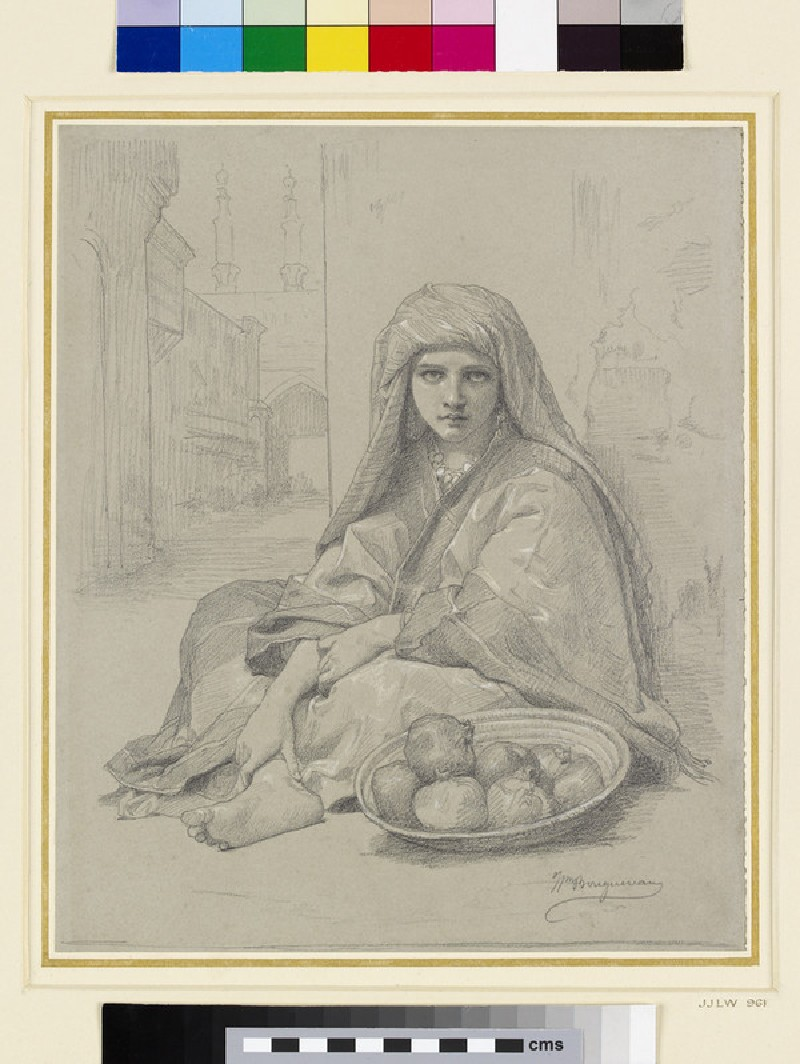 A North African girl selling pomegranates