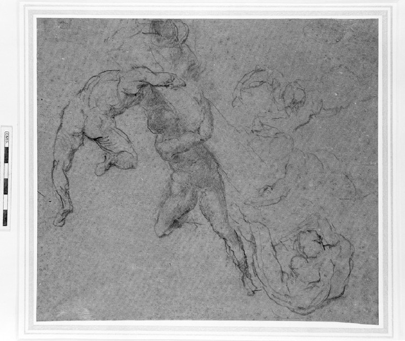 Six nude figures, supporting a column. After Michelangelo (WA1965.1.4)