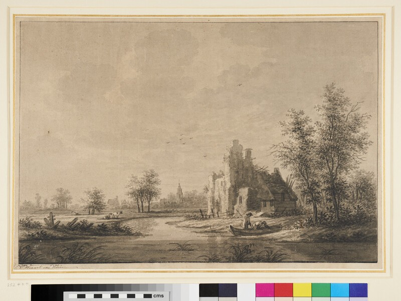 View of the Village of Houten, with Ruins in the Foreground