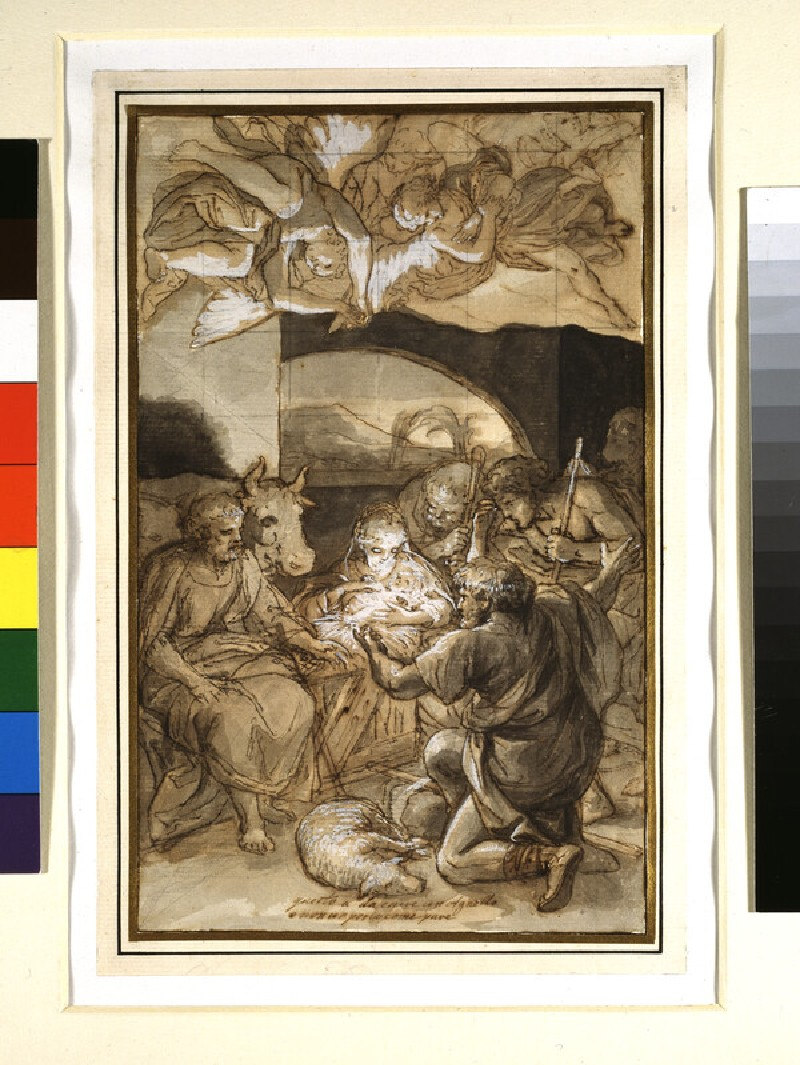 Recto: The Adoration of the Shepherds <br />Verso: Slight Sketch of a Figure