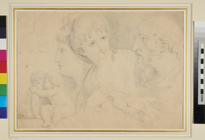 Study of Heads, Putti and a Dog (WA1965.87.3, recto)